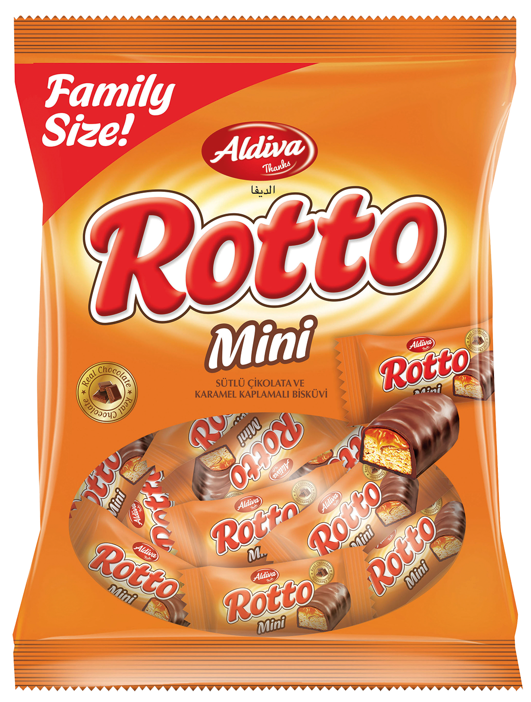Rotto Mini Milk Chocolate & Caramel Coated Bar Biscuits 234g