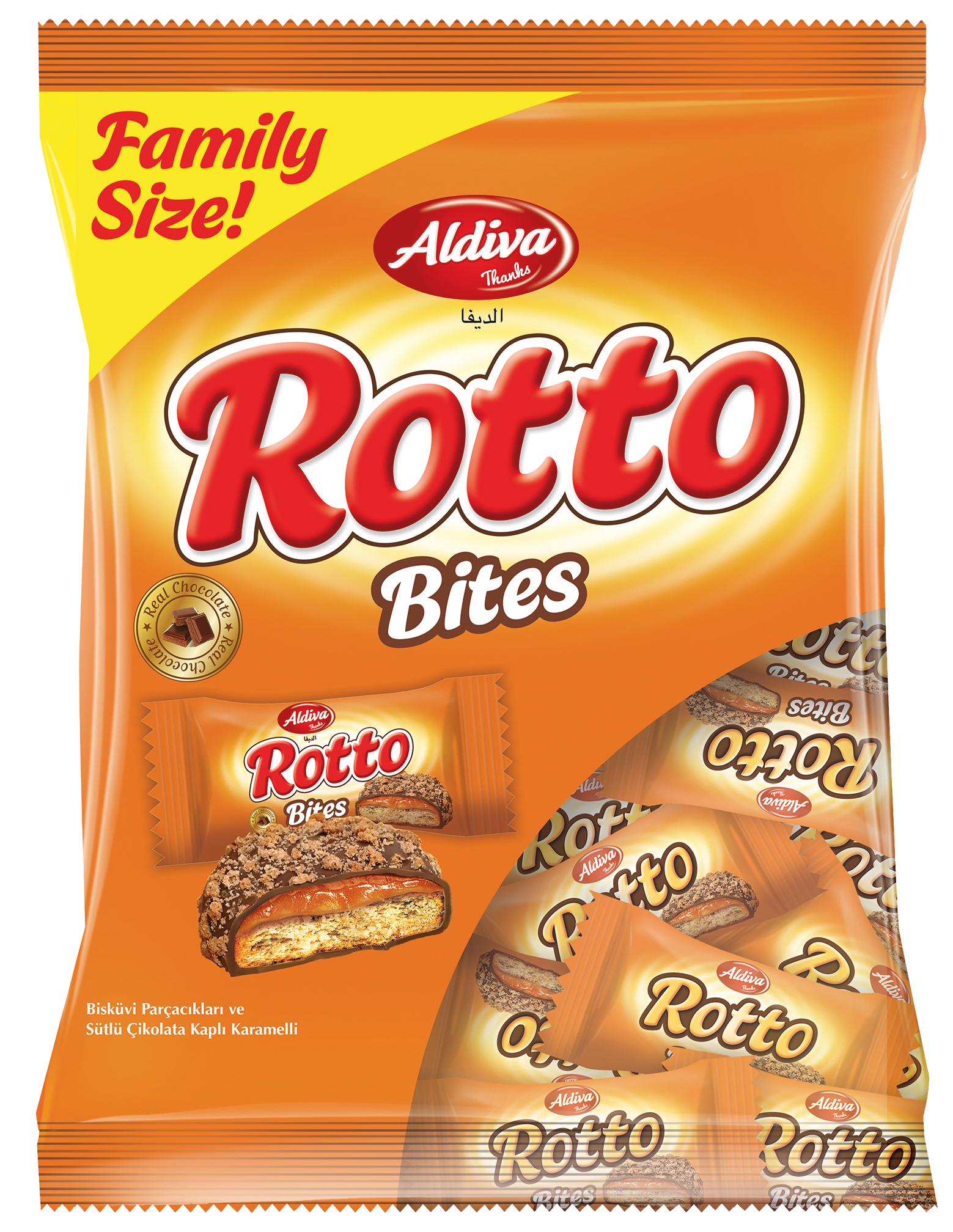 Rotto Bites Milk Chocolate & Caramel Coated Biscuits with Sprinkles 230g