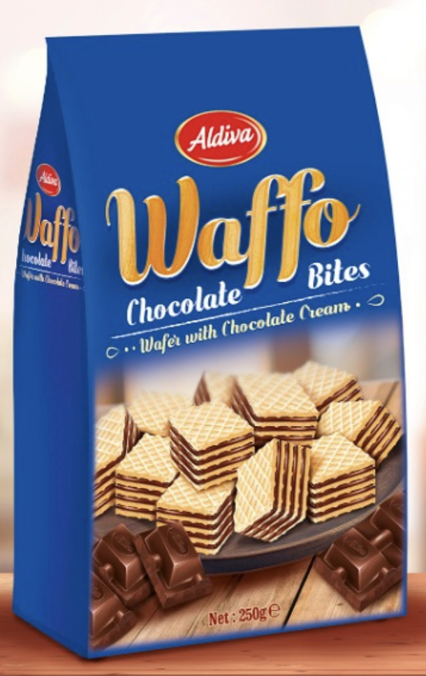 Waffo Bites Chocolate Cream Filling Cube Wafer 250g