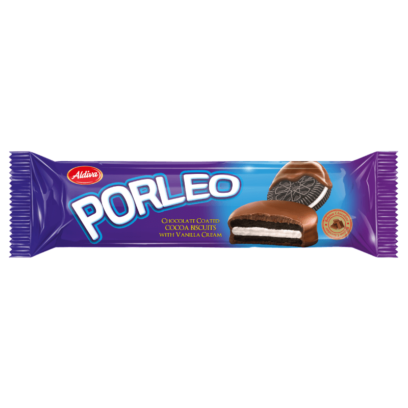 Porleo Belgian Chocolate Covered Vanilla Cream Filled Sandwich Biscuit