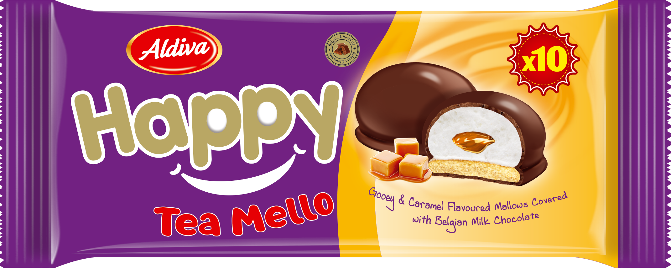 Happy Tea Mello Chocolate Coated & Caramel Filled Marshmallow Biscuits 120g